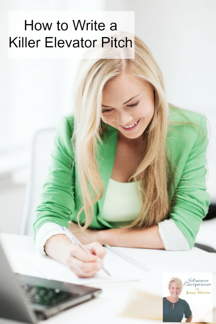 a woman in a green blazer smiling at a desk with text overlay reading How to Write a Killer Elevator Pitch